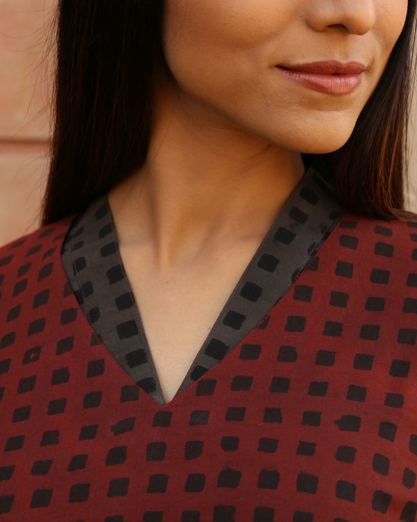 Maroon checkered yoke gathered dress 1