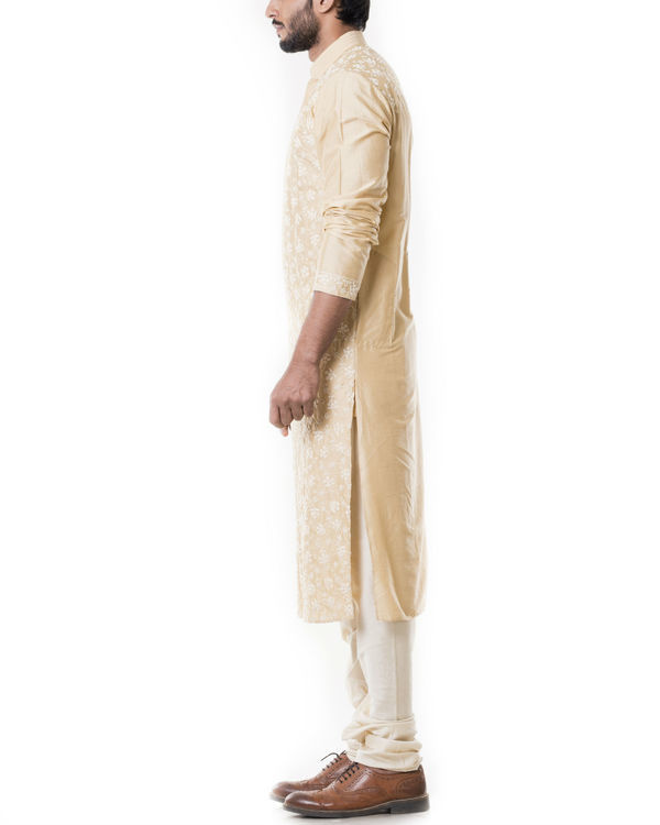 Sherwood tan kurta set with full dori embroidery 1