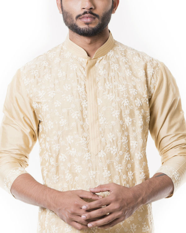 Sherwood tan kurta set with full dori embroidery 2