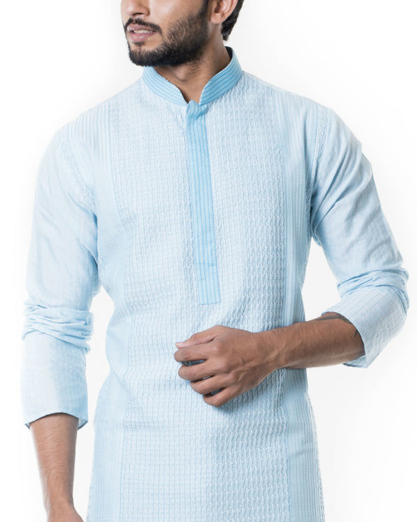 Blue pintucks kurta set 2