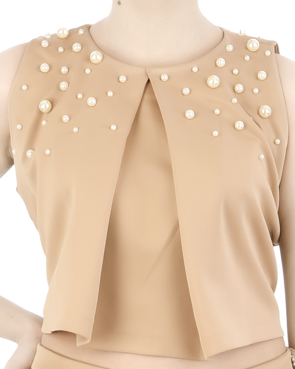 Pleated neoprene crop top with pearl embellishment 3