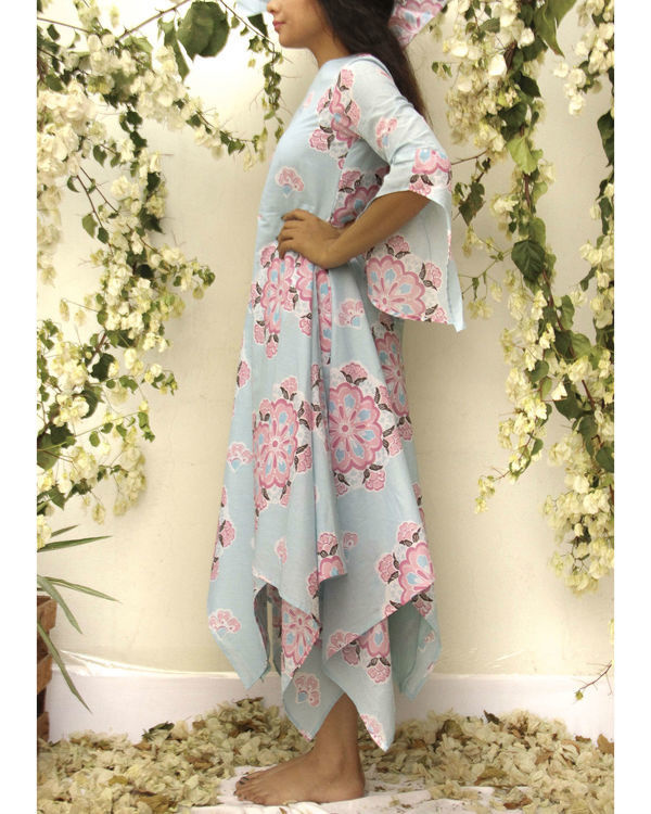 Asymmetric flared floral dress 1