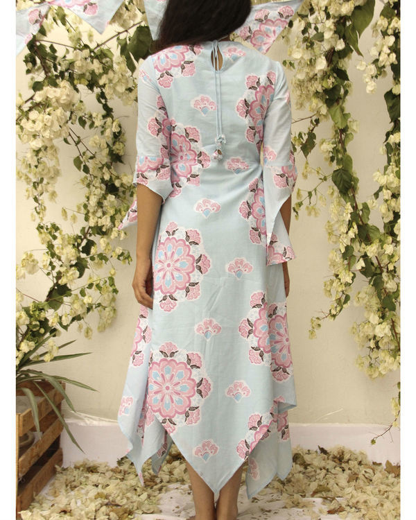 Asymmetric flared floral dress 2