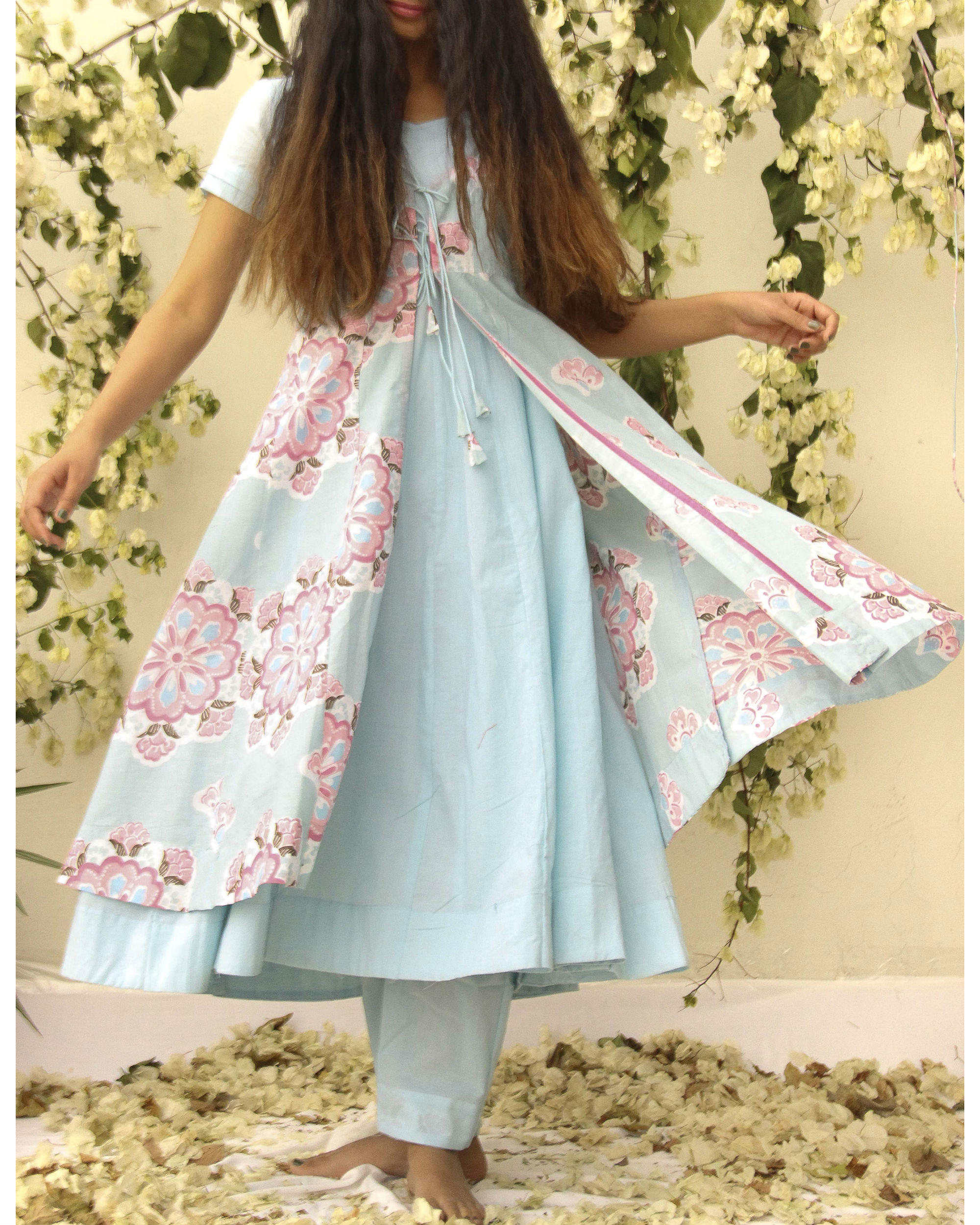 Sky blue and pink floral set by BAISE GABA   The Secret Label