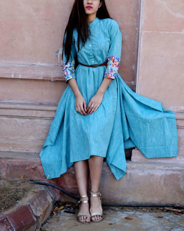 Blue embroidered boho tunic 1