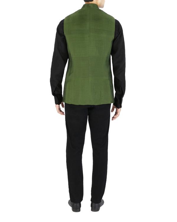 Green pin tucked nehru jacket 1