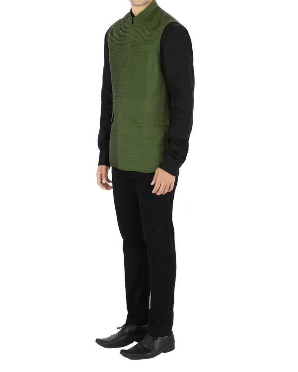 Green pin tucked nehru jacket 2