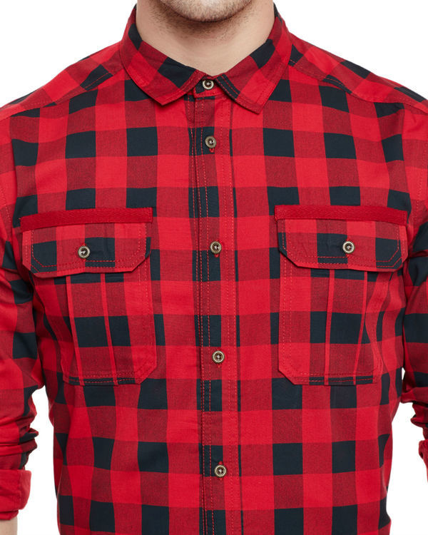 Box check military shirt 2