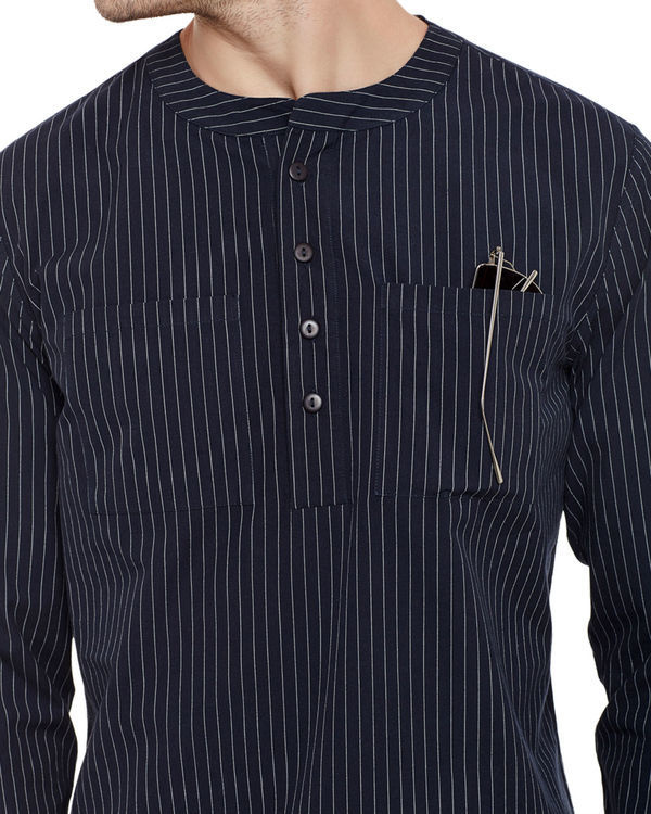 Pin stripe henley shirt 2
