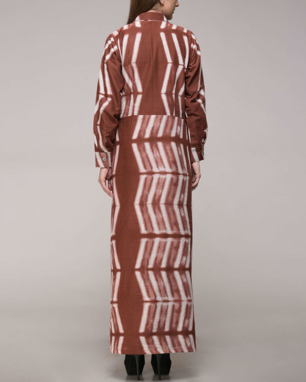 Clamp dyed brown dress 2