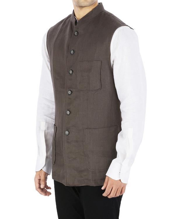 Brown linen nehru jacket 1