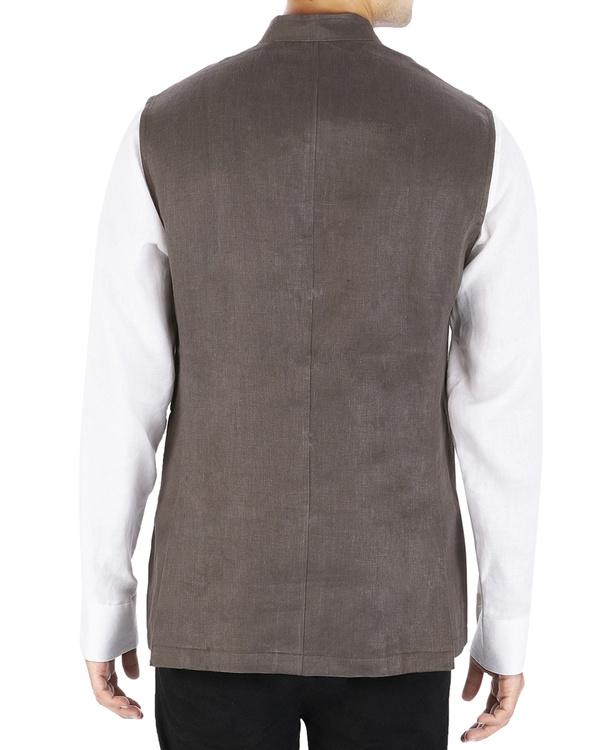 Brown linen nehru jacket 2