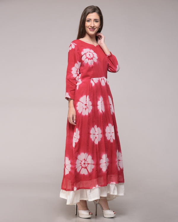 Red floral pleated maxi 1