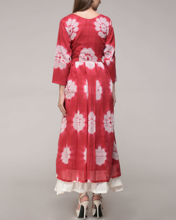 Red floral pleated maxi 3