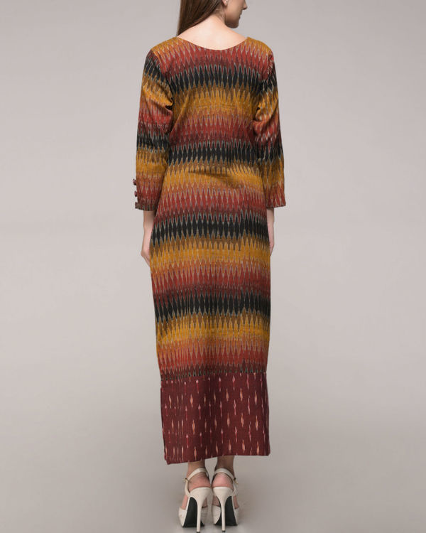 Patched ikat slit dress 2