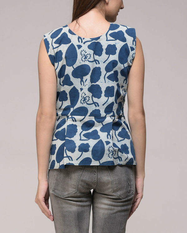 Indigo peplum top 2