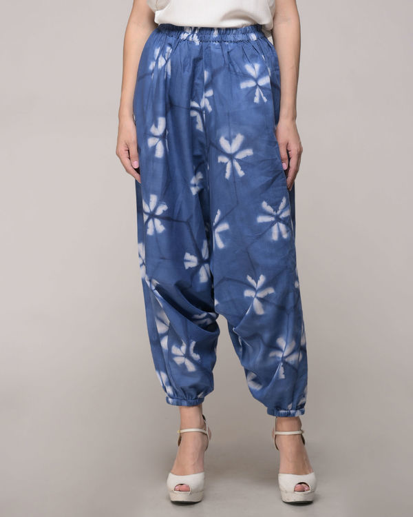 Clamp dyed floral harem pants 1