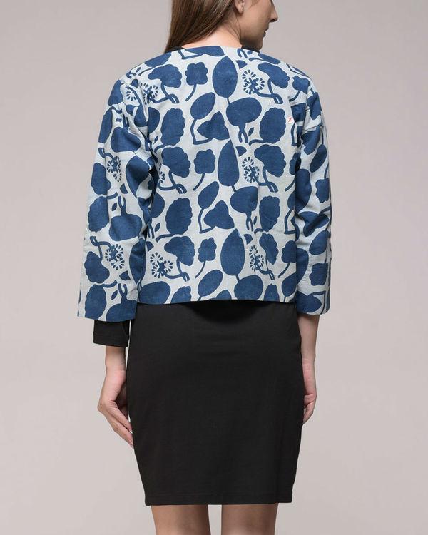 Indigo printed floral jacket 2