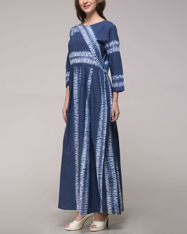 Blue shibori striped dress 1