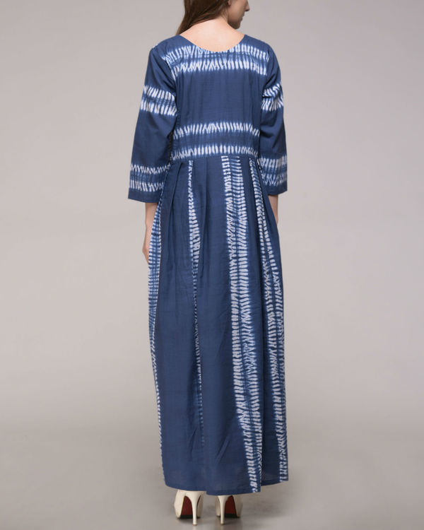Blue shibori striped dress 2