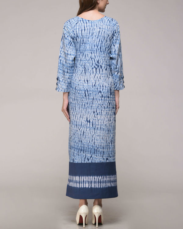 Patched shibori slit dress 2