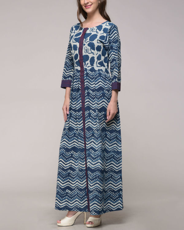 Indigo print embroidered dress 1