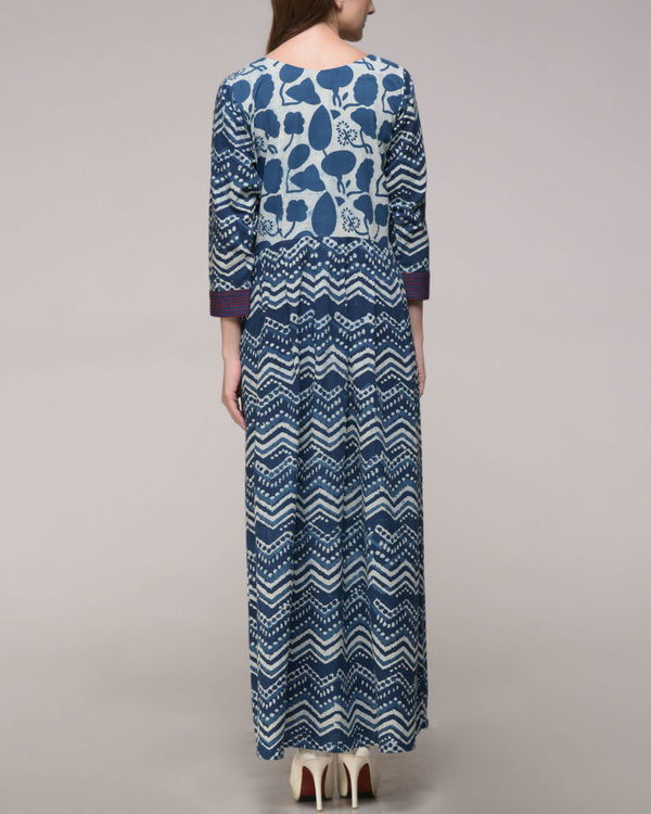 Indigo print embroidered dress 2