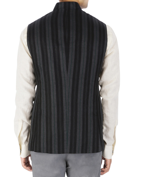Grey linen nehru jacket 1
