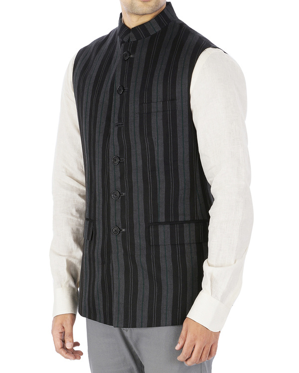 Grey linen nehru jacket 2