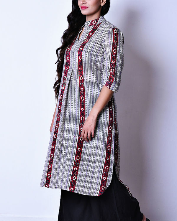 Maroon and grey ikat high low tunic 1