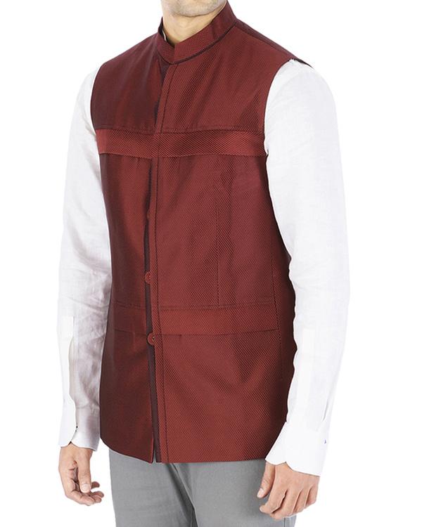 Maroon nehru jacket 2