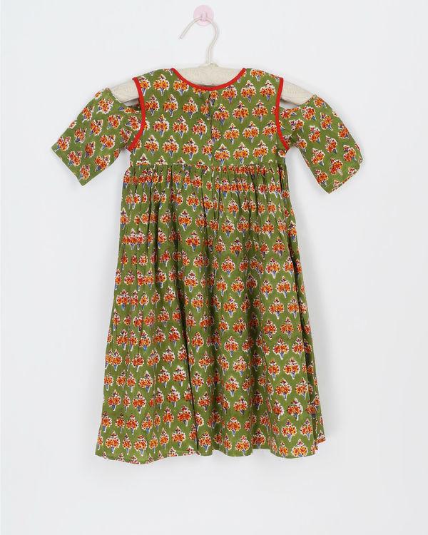 Green cold shoulder dress 1