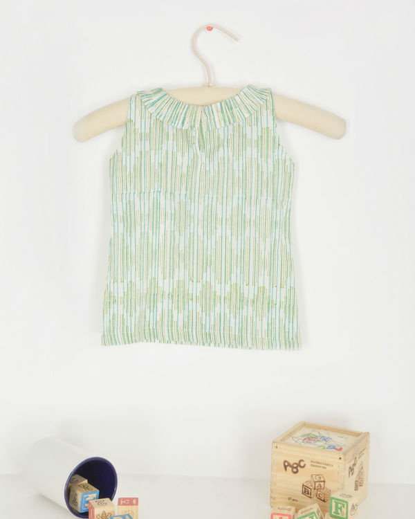 Green striped bow dress 1