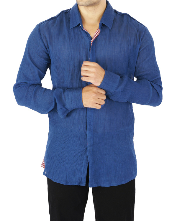 Blue crushed voile shirt 1