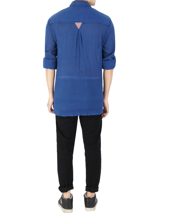 Blue crushed voile shirt 2