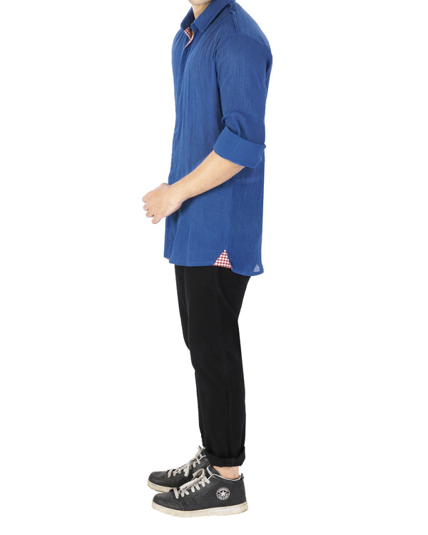 Blue crushed voile shirt 3