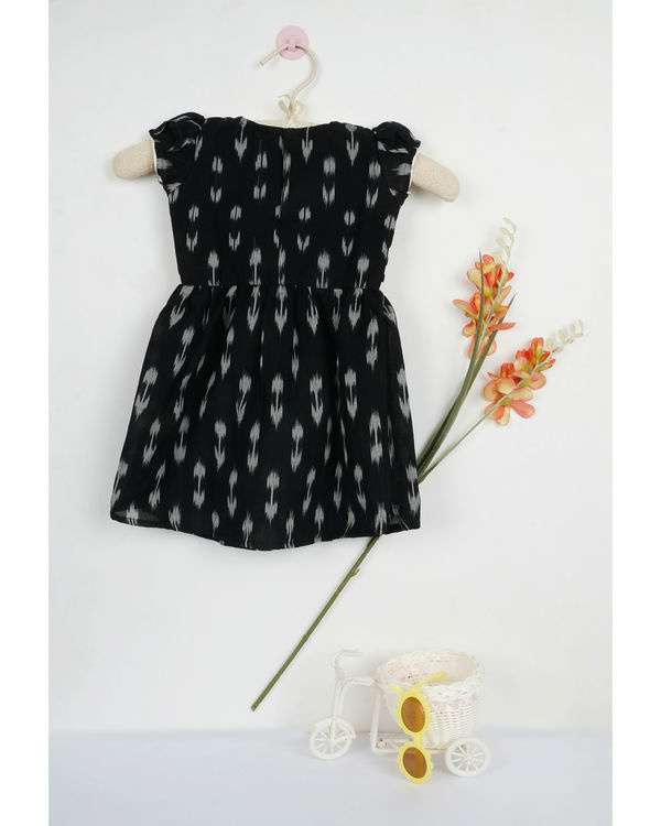Black ikat flat collar dress 1