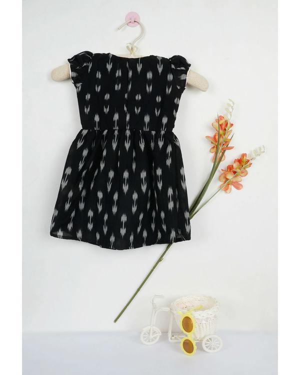 Black ikat flat collar dress 1