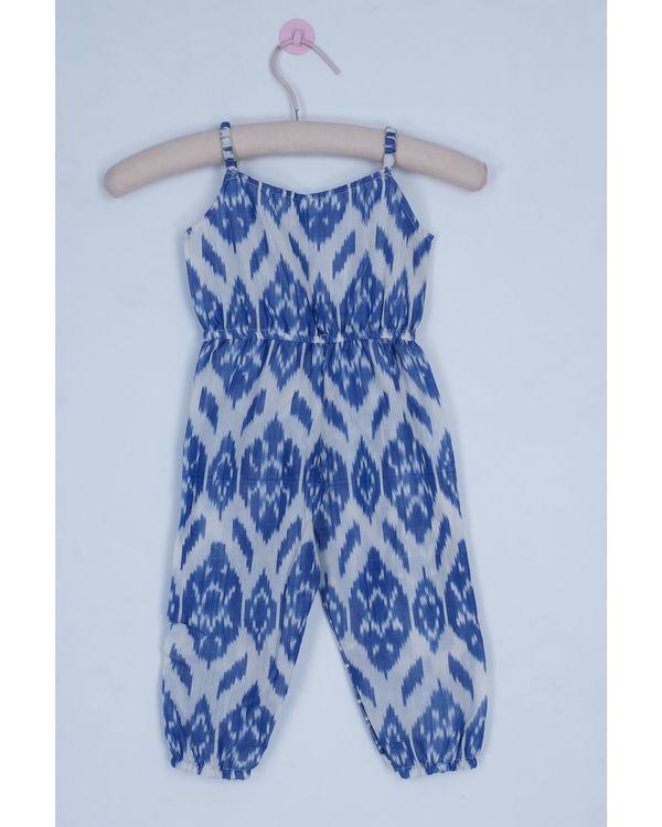 Jade blue ikat jumpsuit 1
