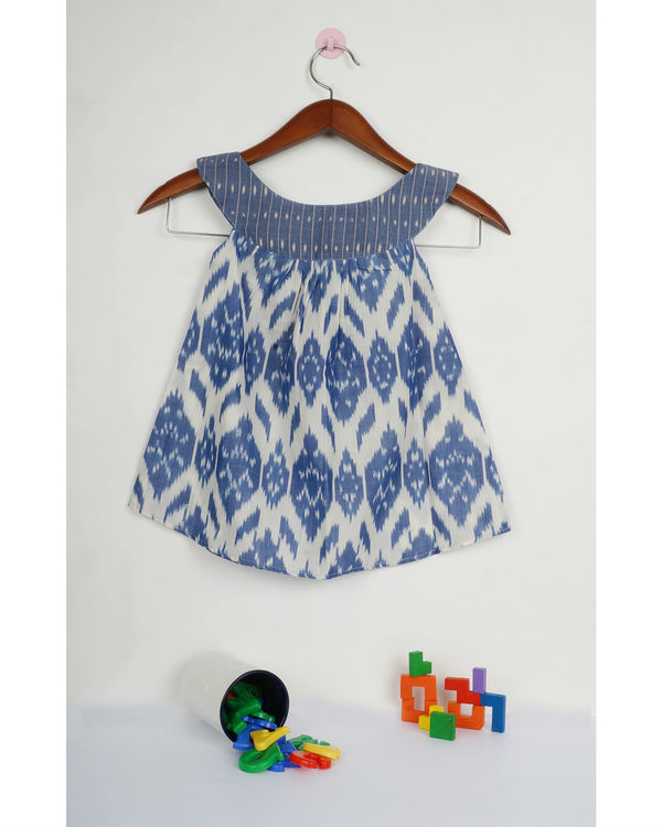 Jade blue round collar ikat dress 1