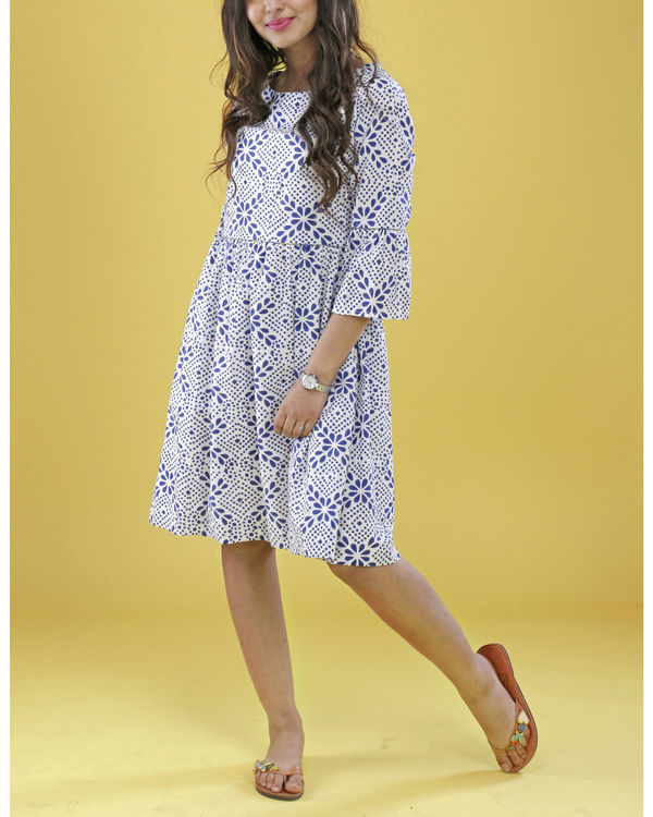 Blue and white summer dress 1