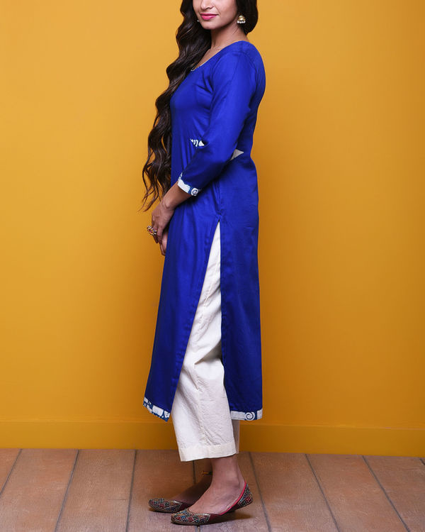 Royal blue printed sleeves tunic 1