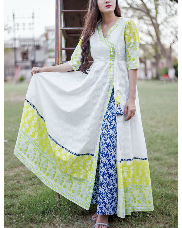 Lime and blue angrakha set 1