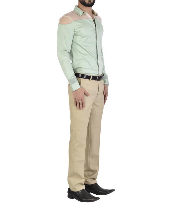 Mint sheer shoulder shirt 1
