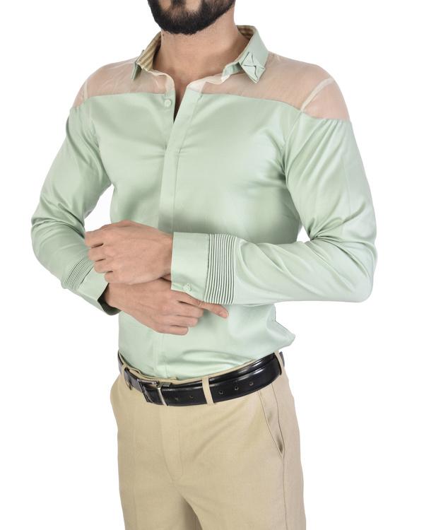 Mint sheer shoulder shirt 3