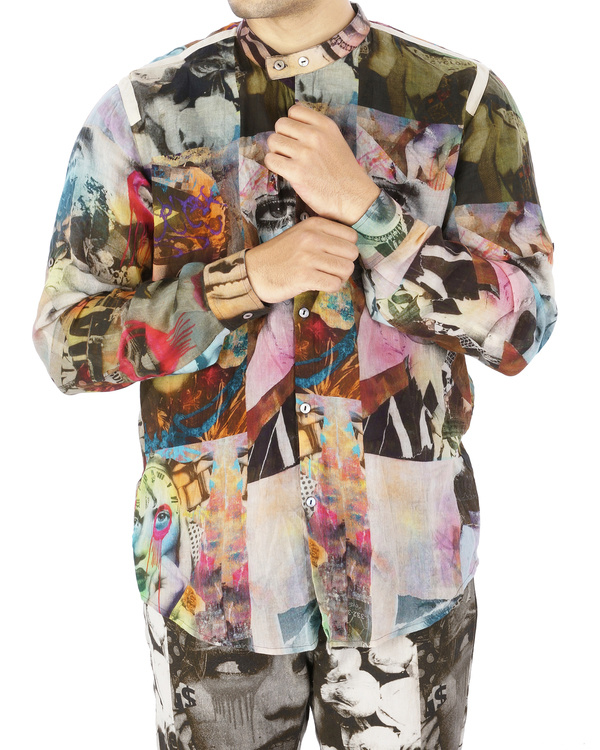 Collage print voile shirt 1