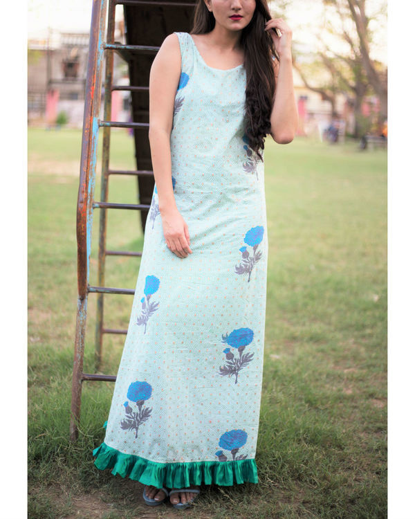 Light green ruffled border maxi 1
