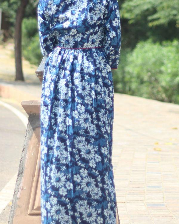 Indigo floral cape 2