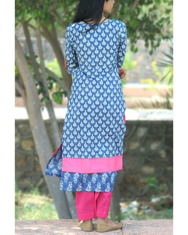 Set of indigo paneled kurta with palazzo 1