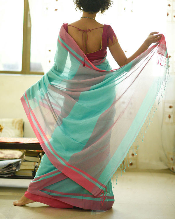 Turquoise and pink sari 2